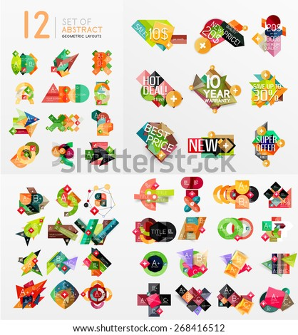 Colorful abstract geometric layouts, mega collection. Vector illustration - stock vector