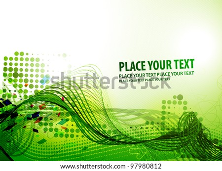 Colorful abstract green wave vector background. - stock vector