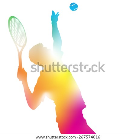Colorful abstract illustration of a Tennis Player serving high to hit an Ace in this Championship match through a haze of summer blurs. - stock vector