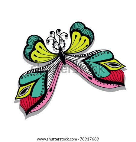 colorful abstract illustration of butterfly, Retro butterfly design - stock vector