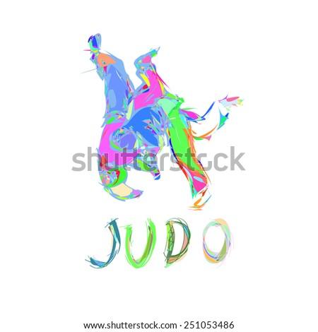 Colorful Abstract Judo Throw Logo Vector Illustration - stock vector