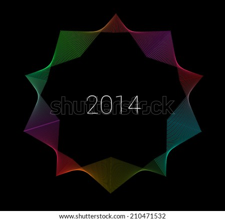 Colorful abstract line graphics style vector star composition - stock vector