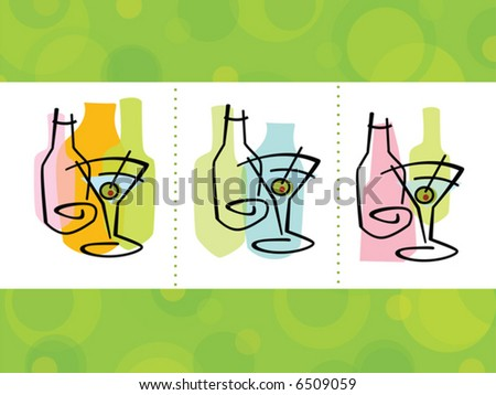 Colorful abstract martini cocktail Icons; layered file with complete background - stock vector
