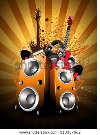 Colorful abstract musical background with loud speakers and guitars. EPS 10. - stock vector