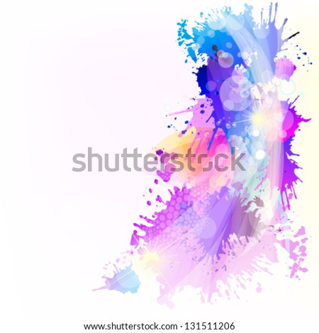 Colorful abstract of spots of paint - stock vector