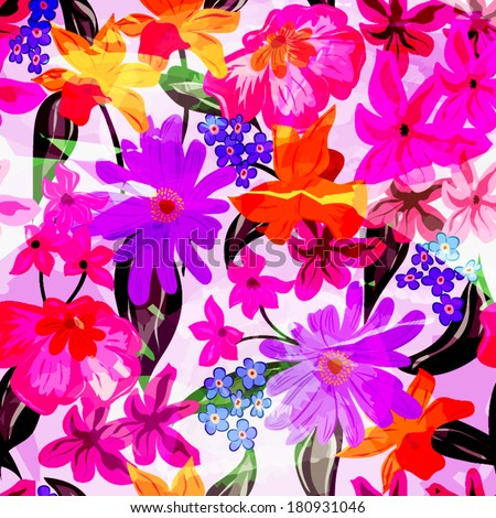 colorful abstract pattern with flowers - stock vector