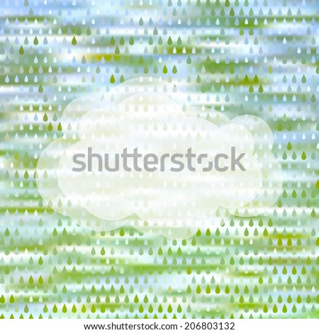 Colorful abstract rain background with drop pattern and semitransparent cloud. Vector illustration. Web and mobile template. EPS10. - stock vector