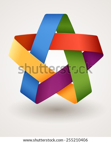 Colorful abstract star, logo design, EPS 10  - stock vector