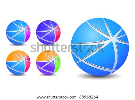 colorful abstract striped sphere balls icons isolated on white background - stock vector