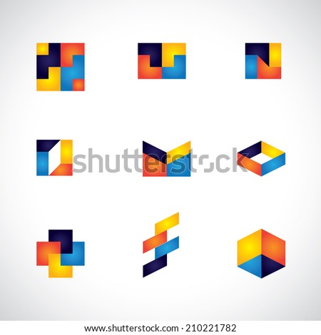 colorful abstract unusual shapes vector icons of design elements. This graphic contains orange, yellow, red, blue colors in vibrant combinations - stock vector