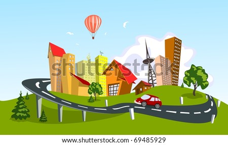 Colorful abstract vector city. Vector art - stock vector