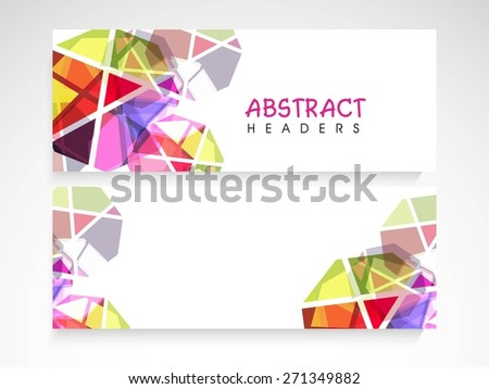 Colorful abstract website header or banner set with blank space for your content.