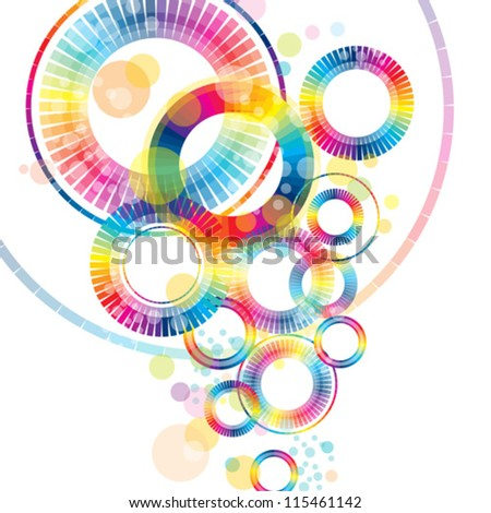 colorful abstract wheels - stock vector