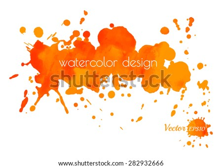 Colorful abstract yellow and orange watercolor stain with splashes and spatters. Modern creative background for trendy design. Vector illustration. Image trace. - stock vector