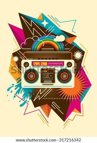 Colorful abstraction with radio. Vector illustration. - stock vector