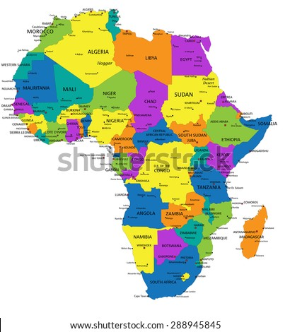Colorful Africa Political Map Clearly Labeled Stock Vector - Political map of algeria