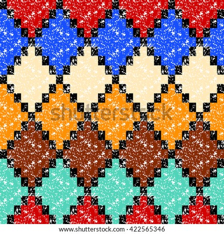 Colorful aged geometric rhombus shape grunge seamless pattern, vector - stock vector