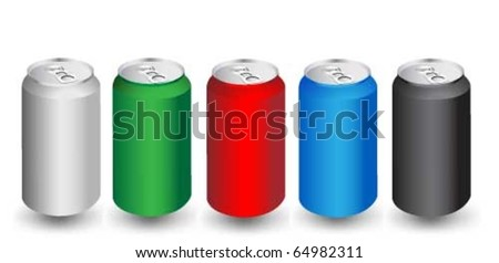Colorful aliminum drink cans - stock vector
