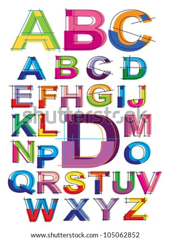colorful alphabet - stock vector