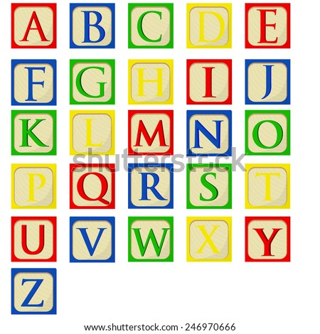 Colorful alphabet baby blocks vector set, building blocks, latin alphabet font - stock vector