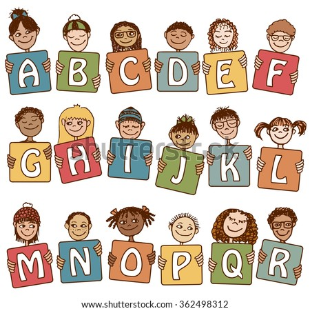 Colorful alphabet letters A - R with cute hand drawn kids - stock vector