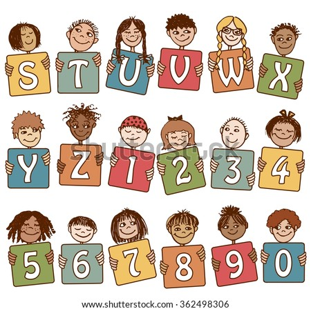 Colorful alphabet letters S - Z and numbers with cute hand drawn kids - stock vector