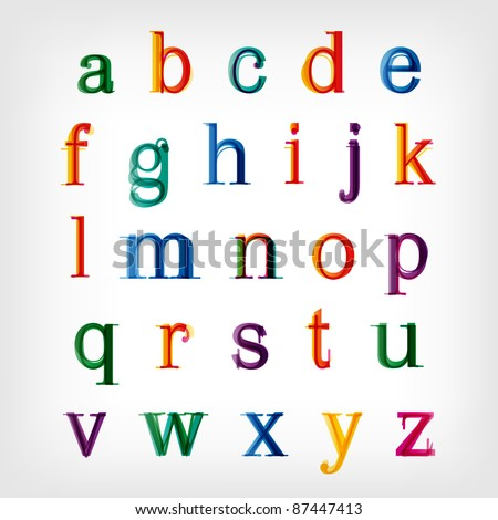 Colorful alphabet set. Vector. Capital letters and symbols available in my portfolio. - stock vector