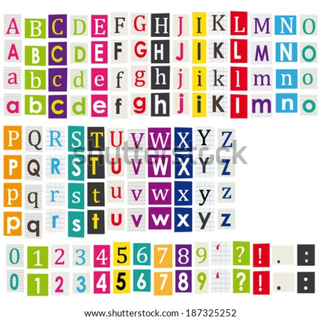 Colorful alphabet with letters cut out of books and magazines. Vector set. - stock vector