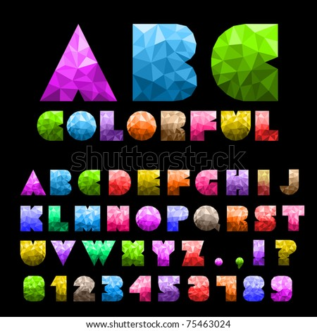 Colorful Alphabet With Numbers - stock vector
