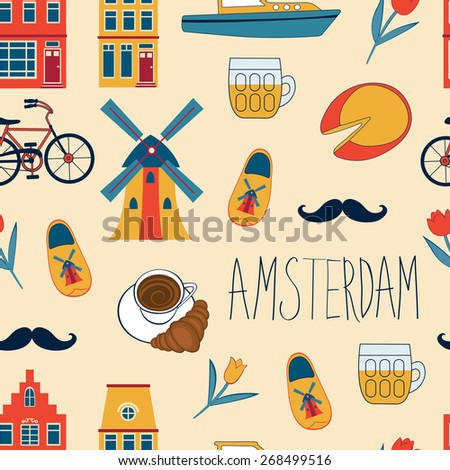 Colorful Amsterdam icons seamless pattern. Vector illustration - stock vector