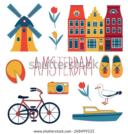 Colorful Amsterdam  related icons set. vector illustration - stock vector