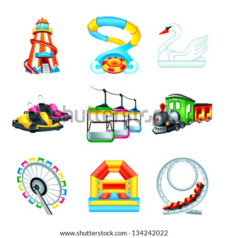 Colorful amusement park or funfair attraction icons - stock vector