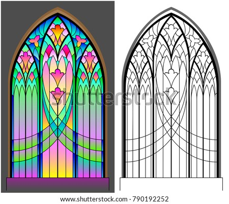 colorful black white pattern gothic stained stock vector 790192252 shutterstock. Black Bedroom Furniture Sets. Home Design Ideas