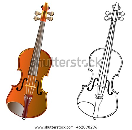 Colorful and black and white pattern violin, vector cartoon image.