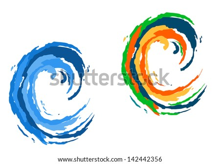 Colorful and blue waves isolated on white for travel and tourism industry design. Jpeg version also available in gallery  - stock vector