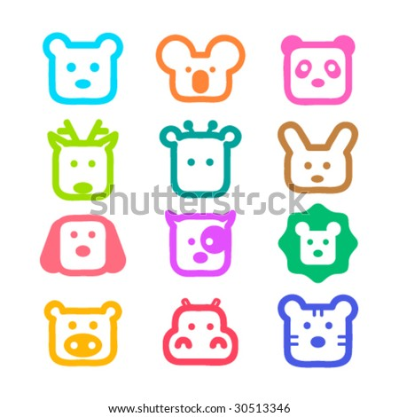 Colorful and cute animal faces. Vector illustration. - stock vector