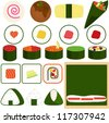 Colorful and Cute Food vector Icons collection as design elements, a set of Japanese Cuisine isolated on white background, Maki, Rolled Sushi, takoyaki, makizushi, salmon, seaweed, bamboo mat - stock vector