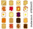 Colorful and Cute Food vector Icons collection as design elements, a set of Sliced White and Brown bread toast with jam, egg, cheese Isolated on white - stock vector