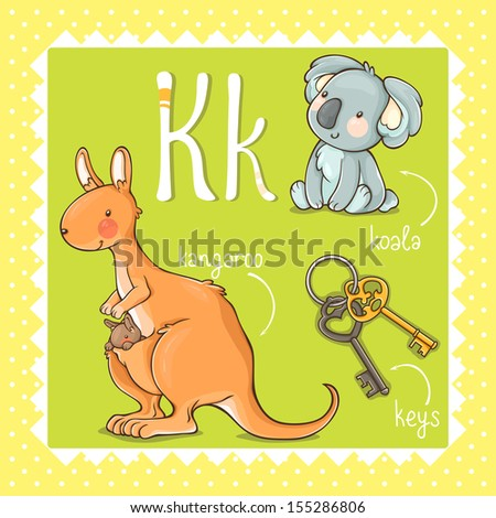 Colorful and cute kids alphabet: letter K.  - stock vector