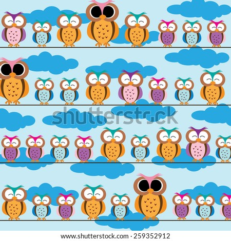 Colorful and cute kids background with owls - stock vector