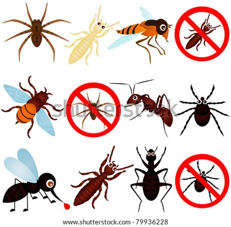 Colorful and Cute vector cartoon Icons collection as design elements, a set of anti pest bugs mosquito, termite, ant isolated on white  - stock vector