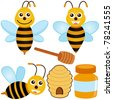 Colorful and Cute vector cartoon Icons collection as design elements, a set of Bee, Honey, Beehive isolated on white - stock vector