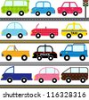 Colorful and Cute vector cartoon Icons collection as design elements, a set Transportation theme with patterns - Car, van, Vehicle, truck, taxi, police car isolated on white - stock vector