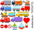 Colorful and Cute vector cartoon Icons collection as design elements, a set Transportation theme with Car, Vehicle, truck, container isolated on white - stock vector