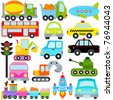 Colorful and Cute vector cartoon Icons collection as design elements, a set Transportation theme with Car, Vehicle, truck, taxi isolated on white - stock vector