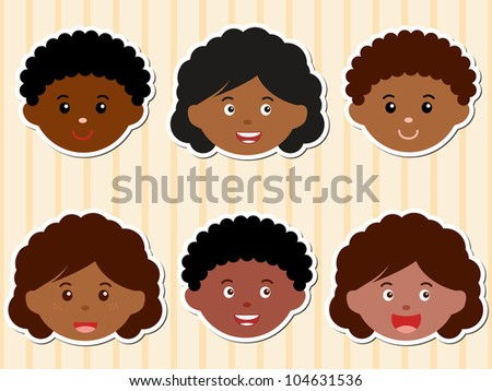 Colorful and Cute vector Icons collection as design elements, a set of African-American Little girls, boys, man, kids, male and female head theme, isolated on pastel background - stock vector