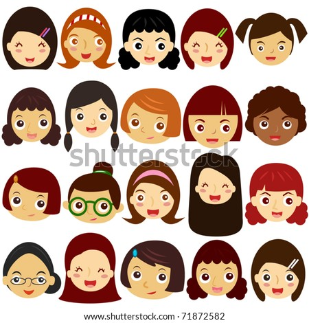 Colorful and Cute vector Icons collection as design elements, a set of Little Girls, Woman, Kids, Female head theme isolated on white - stock vector