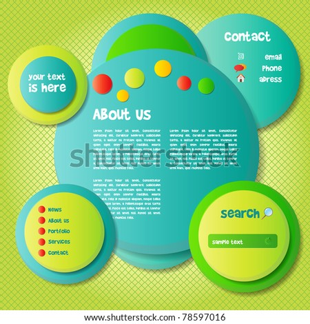 Colorful and Funny Website Template - EPS10 Vector Background - stock vector