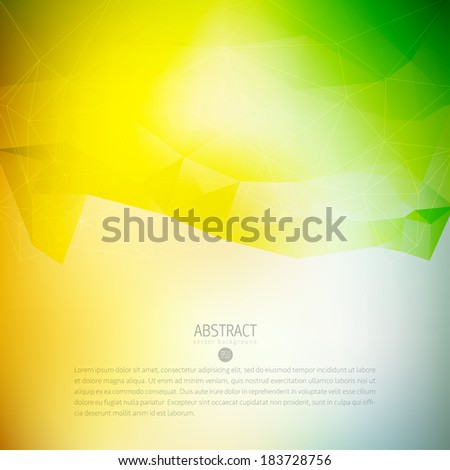 Colorful and green abstract vector background design template with triangles