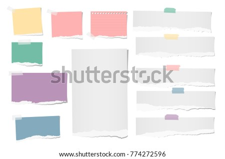 Colorful and white ripped blank note, notebook paper strips for text or message stuck with adhesive, sticky tape on white background.